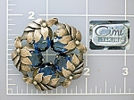 Click here to enlarge image and see more about item 09242008-1222280415: CINI Sterling Silver Leaf Wreath Sapphire Glass Brooch