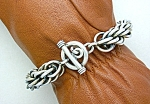 Sterling Silver Woven Link Toggle Clasp Bracelet