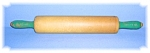 Click to view larger image of VINTAGE ROLLING PIN WITH GREEN HANDLES (Image1)