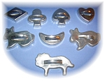 Click here to enlarge image and see more about item 0929200521: SET OF 8 ALUMINUM COOKIE CUTTERS