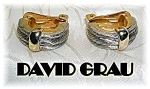 Click to view larger image of Silver & Goldtone David Grau Clip Earrings. (Image1)