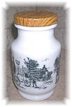 MILK GLASS SCENIC  JAR WITH METAL LID