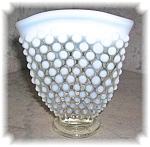 WHITE  HOBNAIL OPALESCENT GLASS FAN VASE