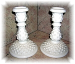 Click here to enlarge image and see more about item 1004200547: FENTON HOBNAIL MILKGLASS CANDLE STICK HOLDERS