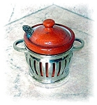 KLEVER KRAFT SILVER MUSTARD POT  WITH INSERT