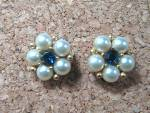Click to view larger image of Earrings WEISS Pearl Blue  Crystal  Goldtone Clip  (Image1)