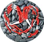 Click to view larger image of Native American Coral Onyx Beads 4 Strand Sterling Silv (Image1)