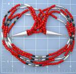 Click to view larger image of Native American Coral Onyx Beads 4 Strand Sterling Silv (Image2)
