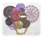Click here to enlarge image and see more about item 1008200515: BUTTON COLLAGE BROOCH IN PURPLES AND GOLD