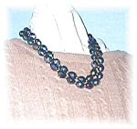 Irridescent Black/Blue/Pink Glass Bead Neckla