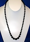Black  Glass 24 Inch Graduated Necklace