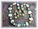 Click to view larger image of Necklace Turquoise Carved Bone Petrified Palm Beads (Image1)