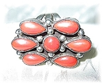 Fabulous Vintage Sterling Silver & Coral Ring . . . . .