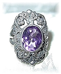 Amethyst Sterling Silver & Marquisite Ring . . . . . .