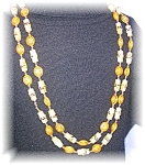 ORANGE NUTS & GOLD  BAMBOO NECKLACE