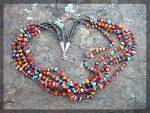 Click to view larger image of Necklace Spiny Oyster Orange Purple Turquoise 5 Strand (Image1)