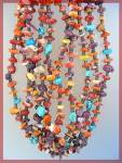 Click to view larger image of Necklace Spiny Oyster Orange Purple Turquoise 5 Strand (Image3)