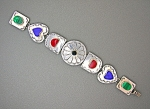 Click to view larger image of Coral Lapis malachite Sterling Silver heart bracelet. (Image1)