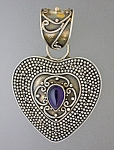 Click to view larger image of Amethyst Sterling Silver Heart pendant Signed SUARTI (Image1)