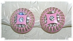 Click to view larger image of Carved Pink Rhinestone Lucite Earrings (Image1)