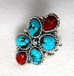 Sterling Silver Turquoise Coral Ring By Gurubachi