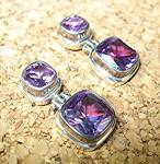 Click to view larger image of Sterling Silver 12ct Each Pierced  Lab Alexandrite Earr (Image2)
