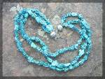 Click to view larger image of Necklace Turquoise 3 Strand Sterling Silver Bead Hook C (Image2)