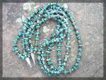 Click to view larger image of Necklace Turquoise Heishi 3 Strand Sterling Silver Poin (Image1)