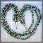 Click to view larger image of Necklace Turquoise Heishi 3 Strand Sterling Silver Poin (Image3)