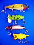 Click here to enlarge image and see more about item 1019-7-4: Fishing Lures Lot of 4 Creek Chub, Heddon, Arbogast