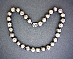 Click to view larger image of Necklace Taxco Sterling Silver Mexico  Beads Signed R (Image1)