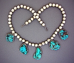 Sterling Silver turquoise Beads 5 Pendant Necklace