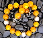 BUTTERSCOTCH AMBER   Beads EXEX Sterling Silver Clasp