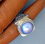 Click to view larger image of Sterling Silver Blue Mabe Pearl Ring (Image1)