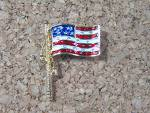 Click to view larger image of Enamel Goldtone USA Rhinestone Flag Pin Lapel Button (Image1)