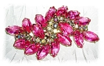 Click here to enlarge image and see more about item 1020200508: BUBBLE GUM PINK BOREALIS CRYSTAL BROOCH....