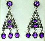 Sterling Silver Amethyst Chandelier Earrings