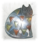 Click to view larger image of STERLING SILVER CAT PENDANT BROOCH MEXICO.... (Image1)
