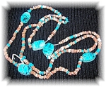 Click to view larger image of Blue Glazed Ceramic and Clay Scarob Necklace (Image1)