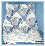 Click here to enlarge image and see more about item 1023200452: Handmade Blue/Pink Fan Pattern Baby Quilt