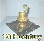 Click here to enlarge image and see more about item 1023200464: Antique Marble Base Signed Ramboud  S-LP Inkwell