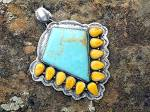 Click to view larger image of Pendant Sterling Silver Turquoise Spiny Oyster by DURAN (Image2)