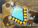 Click to view larger image of Pendant Sterling Silver Turquoise Spiny Oyster by DURAN (Image3)