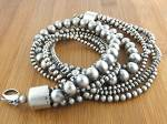 Native American  Sterling Silver 5 Strand Beads