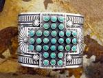 Click to view larger image of Navajo SUNSHINE REEVES Sterling Silver Turquoise Cuff (Image1)