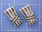 Click to view larger image of Sterling Silver and brass Clip Earrings Taxco  Mexico (Image1)