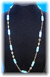 Goldtone and Blue Millafiore Glass 30 Inch Necklace