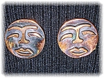 Click to view larger image of Signed Copper REBAJE Copper Face Clip Earrings (Image1)