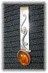 Click to view larger image of Sterling Silver Amber Signed ZN Money  Clip Pendant (Image1)