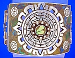 Click to view larger image of Taxco Mexico Sterling Silver Inlay bracelet Push Clasp (Image1)